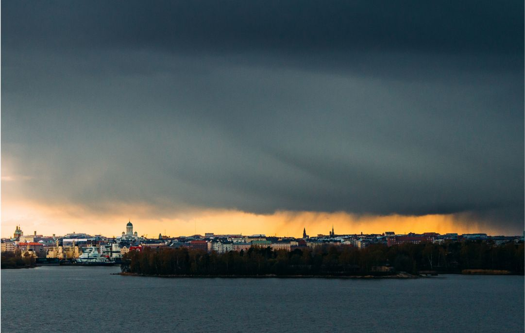 Low and dense clouds over Helsinki.