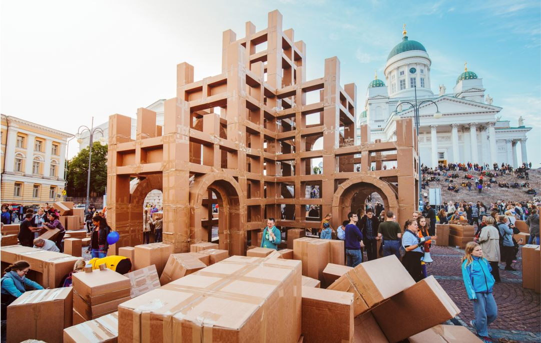 A structure built out of cardboard boxes.